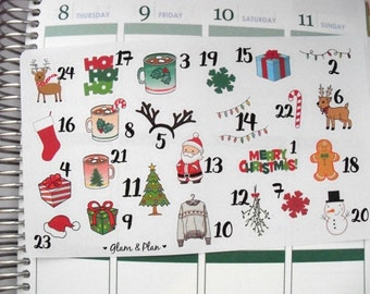 Christmas Countdown Stickers   Erin Condren Filofax Happy Planner Kikki K