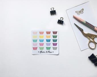 16 Laundry Basket Planner Stickers   Erin Condren Filofax Happy Planner