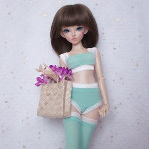 BJD kawaii Silver shining underwear set Top Panties and Stockings for MSD 14 doll slim MSD Minifee lingerie Ruffle Stories shop