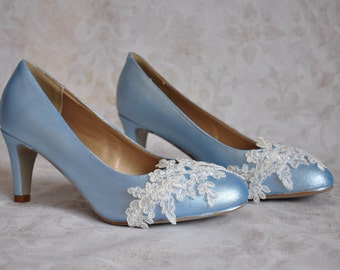 Wedding Shoes Blue Wedding Shoes Light Blue Pumps Blue Bridal Shoes With  Ivory Lace Applique Blue Low Heels Blue Reception Shoes Bride Shoes