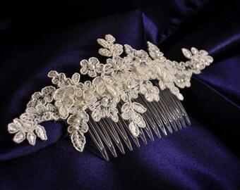 Wedding comb ivory wedding comb wedding hair comb ivory lace comb lace comb pearl hair comb bridal lace comb wedding hair accessories