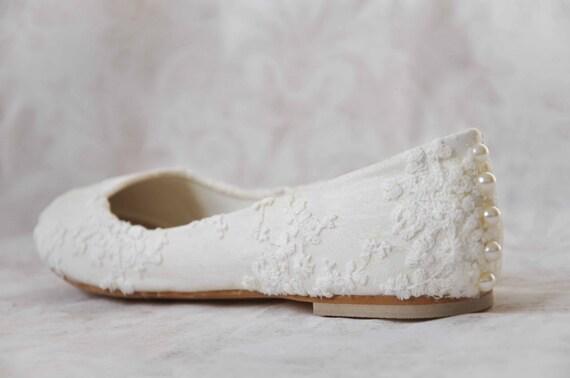 96e753fe720ef8 Wedding shoes lace wedding shoes flats pearl shoes lace bridal