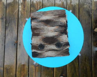 Brown knit button closure scarf