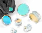 Glass Double Flare Aurora Borealis Flashback Plugs 4g, 2g, 0g, 00g, 7 16 quot , 1 2 quot , 9 16 quot , 5 8 quot , 3 4 quot , 7 8 quot and 1 quot