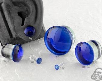 "Single Flare Cobalt Dome Plugs 12g, 10g, 8g, 6g, 4g, 2g, 1g, 0g, 9mm, 10mm, 7/16"", 12mm, 9/16"", 5/8"", 18mm, 20mm, 7/8"", 1"""