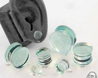 """DF Aquamarine Colorfront Glass Plugs (2g, 1g, 0g, 9mm, 10mm, 7/16"""", 1/2"""" , 9/16"""", 5/8"""", 3/4"""", 7/8"""", and 1"""")"""