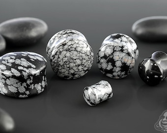 "DF Snowflake obsidian stone plug 6g, 4g, 2g, 0g, 00g (9.5mm), 7/16"", 1/2"" (13mm), 9/16"", 5/8"", 3/4"", 7/8"", and 1"""