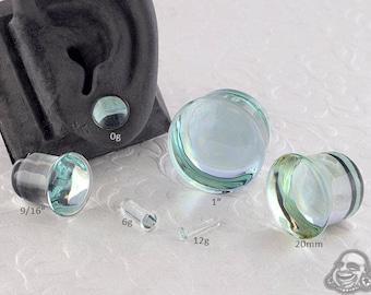 "Single Flare Aquamarine Dome Plugs 12g, 10g, 8g, 6g, 4g, 2g, 1g, 0g, 9mm, 10mm, 7/16"", 12mm, 9/16"", 5/8"", 18mm, 20mm, 7/8"", 1"""