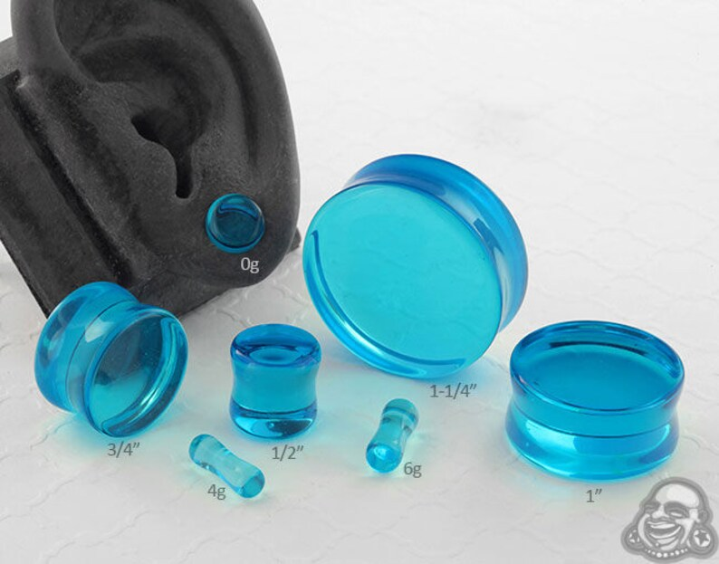 1//2 Turquoise Pair of Glass Single Flared Solid Plugs