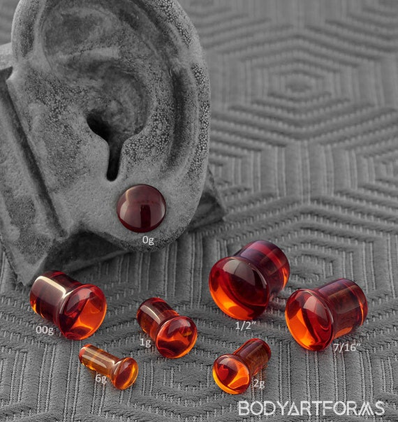 Pair of Amber-Purple Glass Single Flared Color Front Plugs