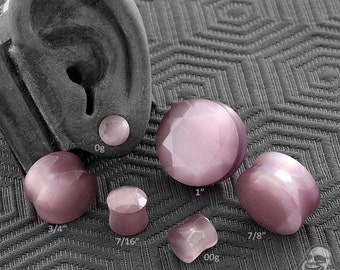 """DF Faceted Mauve cat eye plugs 0g (8mm), 00g (10mm), 7/16"""" (11mm), 12mm, 9/16"""" (14mm), 5/8"""" (16mm), 3/4"""" (19mm)"""