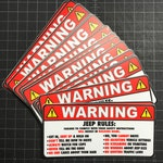 Jeep Rules Warning Decal - Sticker