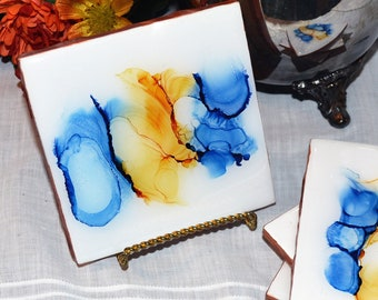 Art Tile CT0067 Hand Painted Ceramic Coasters Set of 4 Abstract Coaster Alcohol Ink