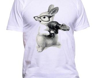 Rabbit With Gun T-Shirt Adult Unisex 100% Cotton Best Birthday Gift
