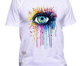 Rainbow Eye T-Shirt Adult 100% Cotton Best Instagram Look Tee
