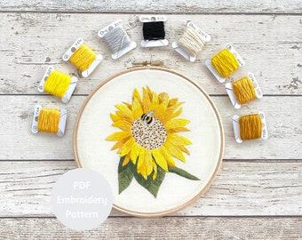Sunflower Hand Embroidery Pattern | PDF Pattern | Digital Pattern | Flower & Bee | Thread Painting Pattern |
