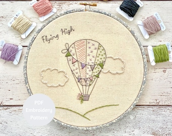 Hand Embroidery Sampler, Hot Air Balloon Embroidery Pattern, PDF