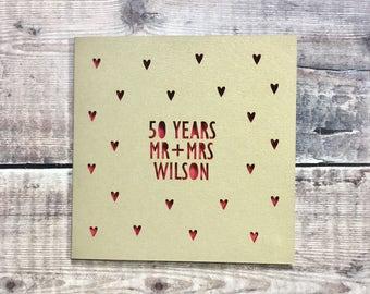 Personalised 50th Golden Anniversary Card, 50 Years, Mr Mrs, Anniversary Gift, Husband Anniversary, Wife, Lasercut, Golden Wedding, Custom