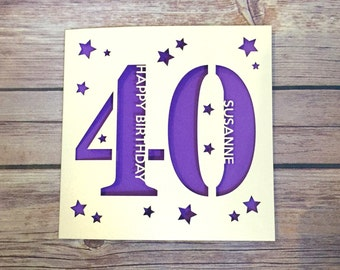 Personalised 40th Birthday Card Daddy Mummy Forty Happy Gift Handmade Lasercut