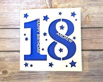 Personalised 18th Birthday Card Daughter Son Niece Nephew Gift Eighteenth Happy Lasercut