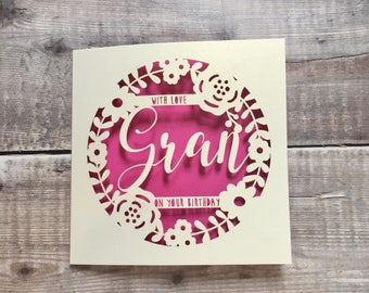 Personalised Gran Floral Birthday Card Happy Nan Special Grandma 60th 70th 80th Granny Nana Handmade Papercut