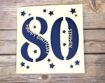 Personalised 80th Birthday Card Dad Mum Eighty Happy Gift Handmade Lasercut