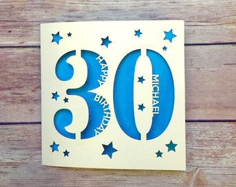 Personalised 30th Birthday Card. Thirty Card, Custom Card, Happy 30th, Lasercut Card, 18th, 21st, 30th, 40th, 50th 60th, 70th, 80th, 90th