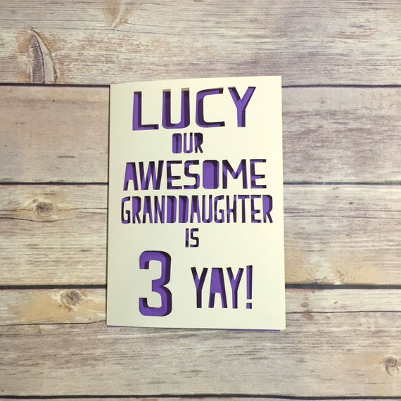 Personalised Granddaughter Birthday Card Childrens