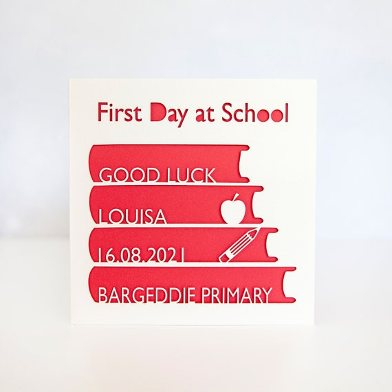 handmade personalised/'  1st Day//New School/' cards