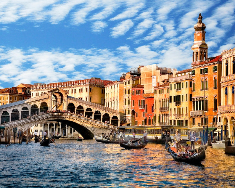 Venice Italy Grand Canal Photo Rialto Bridge Art Etsy