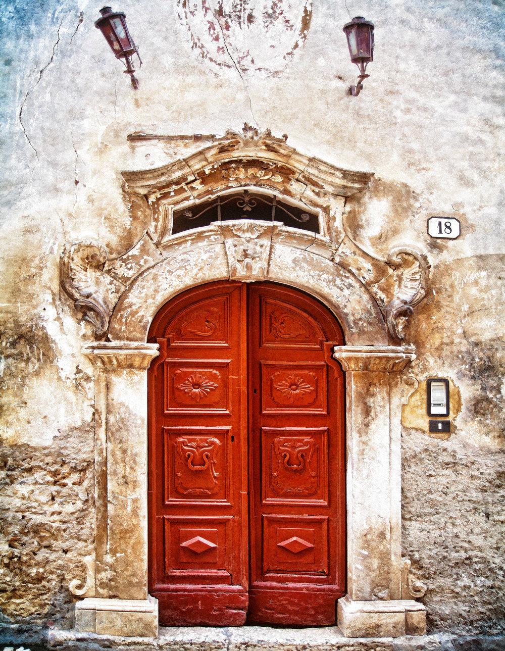 Doors Of Italy Scanno Old Door Photo Red Door Print Etsy