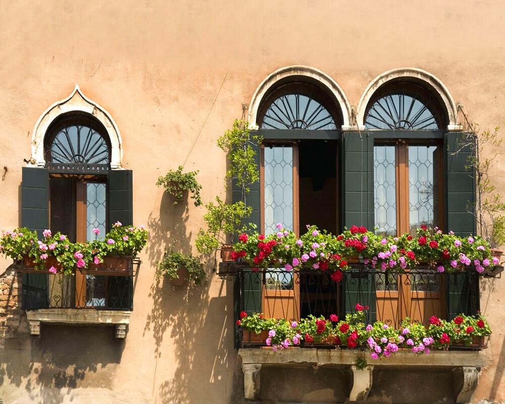 Old Windows Venice Italy Three Windows Green Shutters | Etsy