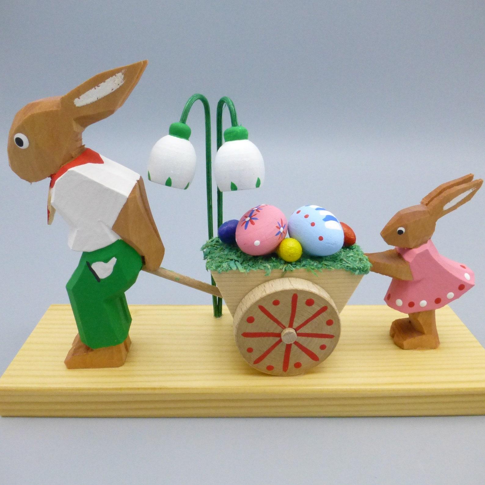 Vintage Erzgebirge Wood Easter Bunny Rabbit with Egg Cart Figurine Decoration Germany