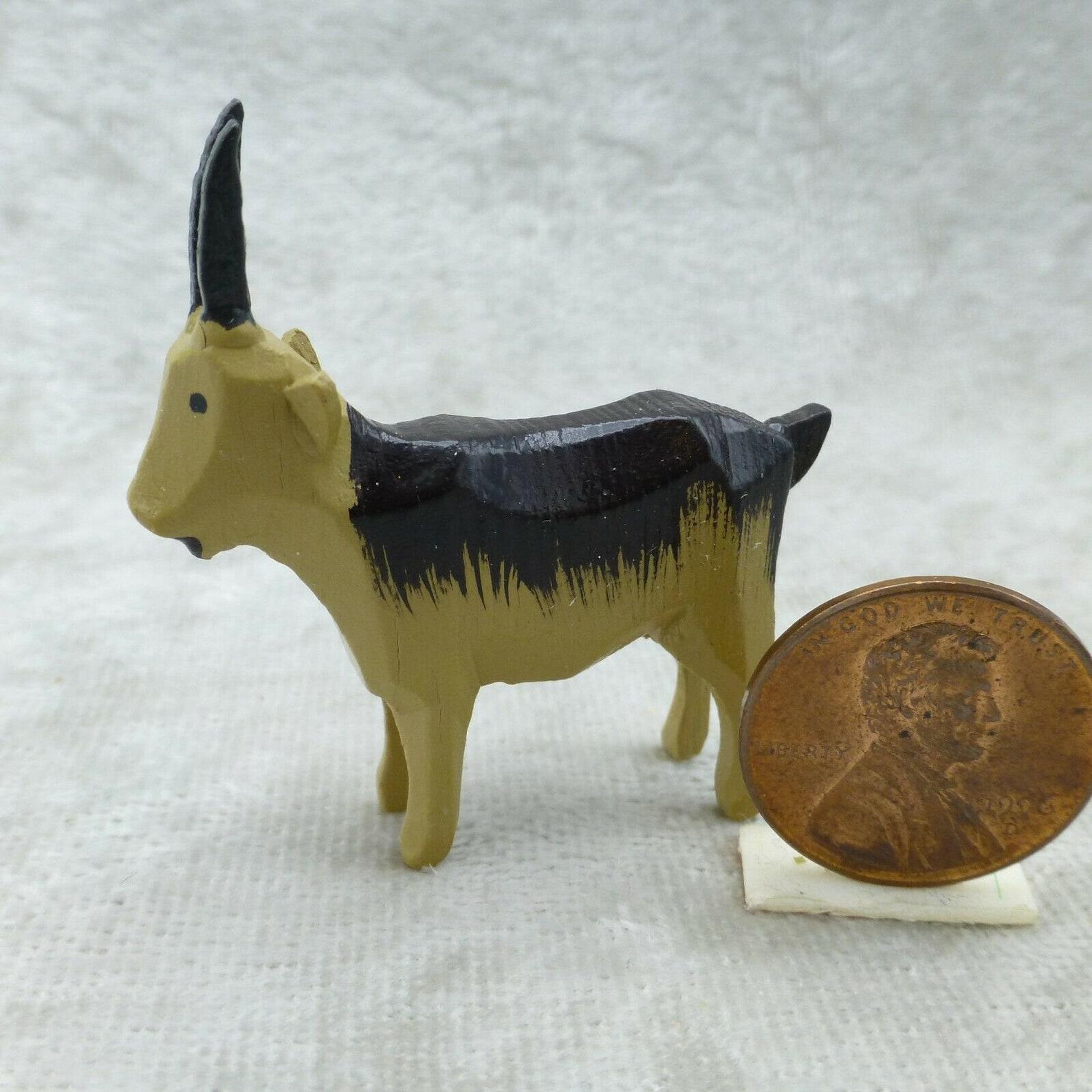 Vintage Erzgebirge Mini Carved Wood Goat