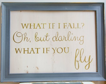 """Sign Motivational Peter Pan Retro Metal Wall Art /""""What if I Fall?/"""" Sign"""