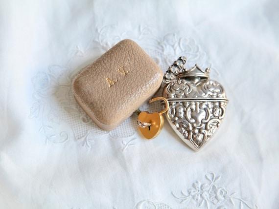 Antique Ring Box, Wedding Ring Box, Engagement Lea