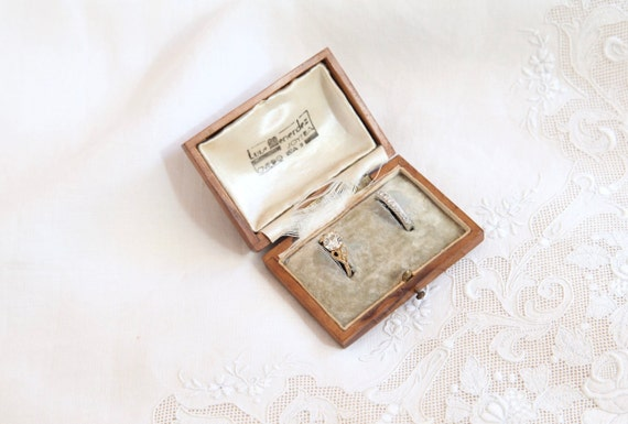 Antique Ring Box, Wooden Engagement Ring Box, Wedd