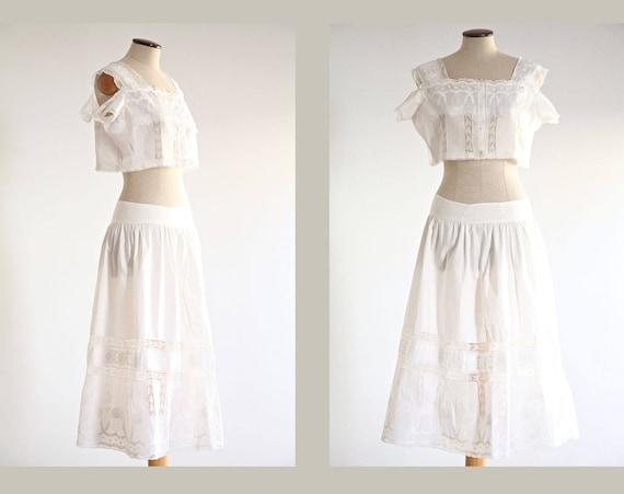 Petticoat Skirt and Lace Top, Boho Bridal Skirt, L