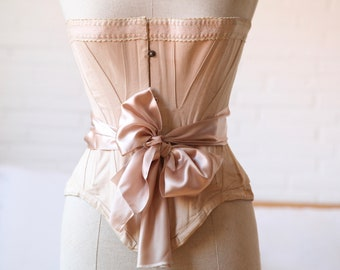 Antique Victorian Pink Corset, Vintage Corset, Wasp Waist Corset, Mannequin Display, Jeanne D'arc Living, French Boudoir, French Romantic
