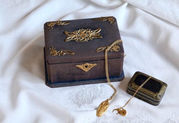 Antique Velvet Jewelry Box, Art Nouveau Blue Velve