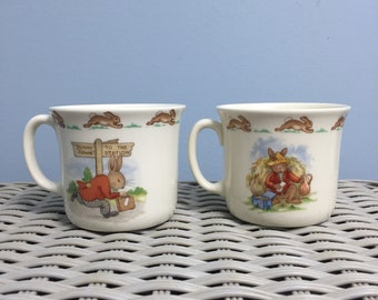 Set of Royal Doulton Bunnykins English Fine China Childrens Christening Mugs