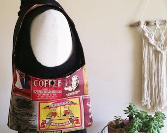 Coffee Handbag. Small Retro Bag. Vintage Accessories. Australian Made. Birds Umbrella. Printed Cotton Black. Shoulder Bag. Tote. Top Handle.