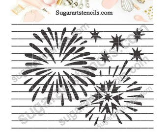 Fireworks celebration cookie stencil NB1099