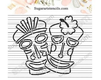 Tiki Mask Luau PYO Cookie Stencil Summer Beach Paint Your Own AV00103