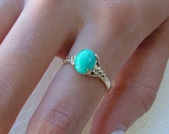 Sleeping beauty Turquoise ring- Sleeping beauty and gold ring-10k gold ring with oval Turquoise-Genuine Sleeping beautyTurquoise ring