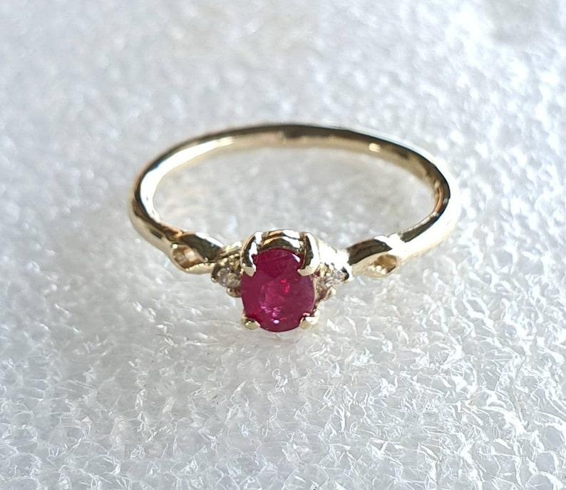 Birthstone Ruby-Dainty Ruby ring with diamonds Stacking Ruby and diamond ring-genuine Ruby and diamond ring