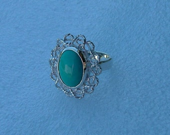 Turquoise and Silver Ring-Cabochon Turquoise ring-Turquoise ring