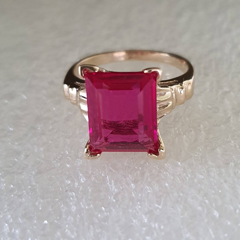 Ruby and gold ring red Ruby and gold ring man made Ruby and yellow gold ring