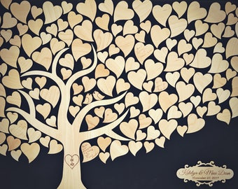 Wedding Guest Book Tree  Guestbook alternative with wood hearts