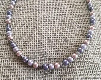 Swarovski Pearls. genuine Swarovski Pearl Necklace. Light Lavender Steel Gray And Champagne Swarovski Pearls